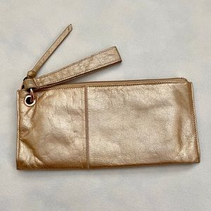 HOBO Gold Clutch Wristlet Leather